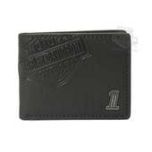 Harley-Davidson® Mens Crunch B&S with #1 Medallion Classic Black Leather Billfold Wallet