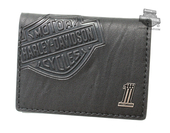 Harley-Davidson® Mens Crunch B&S with #1 Medallion Classic Black Leather Trifold Wallet