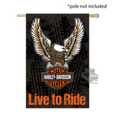 Harley-Davidson® Eagle B&S Suede Reflections™ Double Sided House Polyester Flag