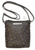 Harley-Davidson® Womens Eyelet Accented Crossbody Black Leather Purse