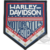 ** 2 for $5 ** Harley-Davidson® H-D Republic Woven Label with Star Studs Small Patch