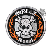 ** 2 for $1 ** Harley-Davidson® Boys Youth Rebel Skull with Flames X-Small Patch *48HR*