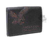 Harley-Davidson® Mens Vintage Eagle Classic Black Leather Trifold Wallet