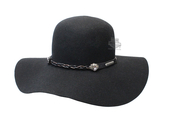 Harley-Davidson® Womens B&S Logo with Chain Accent Band Black Wool Felt Hat