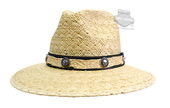 Harley-Davidson® Mens Willie G Skull Medallions on a Straw Band Natural Straw Hat