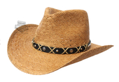 Harley-Davidson® Mens Leather Band Patterned Toyo Brown Straw Hat