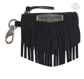 Harley-Davidson® Womens Python Fringe Snake Embossed Black Leather Coin Pouch
