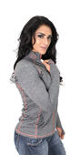 ** SIZE MEDIUM ONLY ** Harley-Davidson® Womens Serial Chain Mock Neck Synthetic Full Zip Charcoal Long Sleeve Sweatshirt