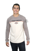 Harley-Davidson® Mens Home Address Trademark B&S Contrast Piping Grey Long Sleeve T-Shirt *30HR*