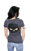 ** SMALL SIZES ONLY ** Harley-Davidson® Womens Rebellious Ride Willie G Skull Back Cutout V-Neck Charcoal Short Sleeve T-Shirt *