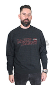 Harley-Davidson® Mens Build Your Freedom B&S Fine Line Fleece Black Long Sleeve T-Shirt