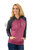 ** SMALL SIZES ONLY ** Harley-Davidson® Womens Volatile Freedom B&S 3 Button Pullover Pink Long Sleeve Hoodie