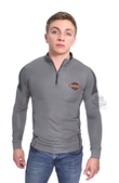 Harley-Davidson® Mens Elite Injection B&S Mock Neck Synthetic 1/4-Zip Grey Long Sleeve Sweatshirt *2DY*