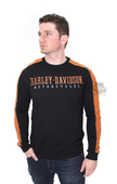 Harley-Davidson® Mens A Lot Of Fuel H-D Name Contrast Piecing Black Long Sleeve T-Shirt