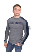 Harley-Davidson® Mens A Lot Of Fuel H-D Name Contrast Piecing Grey Long Sleeve T-Shirt