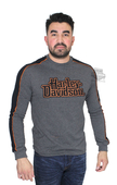 Harley-Davidson® Mens Holding Fire Contrast Sleeve Charcoal Long Sleeve T-Shirt