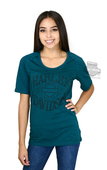 Harley-Davidson® Womens Fast Luck B&S with Contrast Panels Green Half Sleeve T-Shirt *CYB*