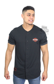 ** SIZE MEDIUM ONLY ** Harley-Davidson® Mens Swift Ride B&S Baseball Black Short Sleeve Jersey *ASW*