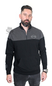 Harley-Davidson® Mens Emergent Approach B&S Mock Neck Black Long Sleeve 1/4 Zip *CIJ*