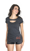 Harley-Davidson® Womens California Roll H-D Keyhole Front Charcoal Short Sleeve T-Shirt