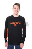 Harley-Davidson® Mens Power Fire Chrome B&S Contrast Piecing Black Long Sleeve T-Shirt