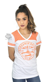 Harley-Davidson® Womens Screamin Eagle Varsity V-Neck White Short Sleeve T-Shirt