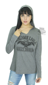 Harley-Davidson® Womens Screamin Eagle On the Fence Hooded Grey Long Sleeve T-Shirt