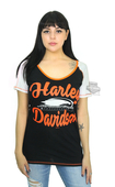 Harley-Davidson® Womens Screamin Eagle Cross Stitch Rhinestones Black Short Sleeve T-Shirt