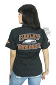 Harley-Davidson® Womens Screamin Eagle Striped Frontrunner Crew Black Short Sleeve Woven Shirt