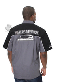 Harley-Davidson® Mens Shadow Crew Screamin Eagle Charcoal Short Sleeve Woven