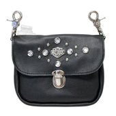 Harley-Davidson® Womens Clip Pouch Studded Rhinestone Black Leather Hip Bag
