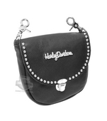 Harley-Davidson® Womens Metal Script HD with Studs Black Leather Hip Bag