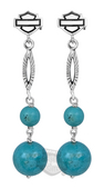 Harley-Davidson® Womens .925 Silver Turquoise with B&S Post Dangle Earrings by Mod Jewelry *48H1*