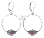 Harley-Davidson® Womens .925 Silver Pink & White Bling B&S Large Hoop Earrings by Mod Jewelry®