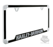 Harley-Davidson® Chrome Brushed Metal Vinyl Inlays H-D Wordmark License Plate Frame