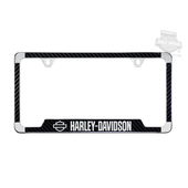 Harley-Davidson® Black Open B&S 3M Carbon Fiber Vinyl Inlay Bottom License Frame
