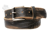 Harley-Davidson® Mens Freedom Machine Winged Willie G Skull Brown Leather Belt by LODIS