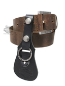 Harley-Davidson® Mens Heavy Hitter Plain Brown Distressed Leather Belt & Keychain Combo by LODIS
