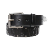 Harley-Davidson® Mens Anarchy Debossed H-D Name with Rivets Black Leather Belt by LODIS