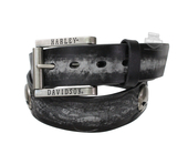Harley-Davidson® Mens Hot Seat Flames with Willie G Skull Conchos Black Leather Belt by LODIS