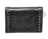 Harley-Davidson® Mens Soul Journey Debossed Skull Logo with Studs Black Leather Trifold Wallet by LODIS