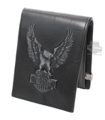 Harley-Davidson® Mens Eagle B&S Distressed Logo Black Leather Bifold Wallet by LODIS