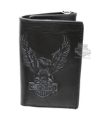 Harley-Davidson® Mens Eagle B&S Distressed Logo Black Leather Trifold Wallet by LODIS