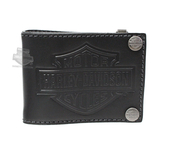 Harley-Davidson® Mens Easy Money B&S Logo Black Leather Bifold Wallet by LODIS *2DY*