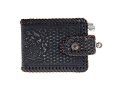 Harley-Davidson® Mens Freedom Eagle Hand Tooled Woven Design Black Leather Bifold Wallet by LODIS *2DY*