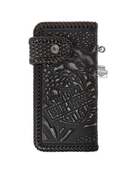 Harley-Davidson® Mens Freedom Eagle Biker Hand Tooled Woven Design Black Leather Bifold Wallet by LODIS *2DY*