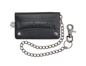 Harley-Davidson® Mens Shot Caller Biker H-D Name with Chain Black Leather Bifold Wallet by LODIS