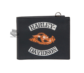 Harley-Davidson® Mens Hog Wild H-D Rocker Black Leather Bifold Wallet by LODIS *CYB*