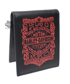 Harley-Davidson® Mens Crossfire Trademark B&S with Flames Black Leather Bifold Wallet by LODIS