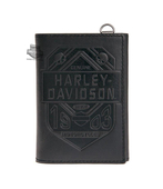 Harley-Davidson® Mens Road Badge Shield with Willie G Skulls Black Leather Trifold Wallet by LODIS